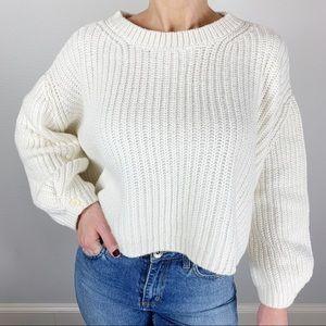 Anthropologie Moth Cream Crop Poet Sleeve Sweater